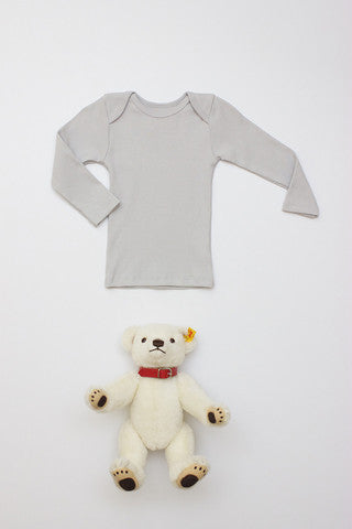 Flora and Henri Rib Lap Shoulder L/S Tee Pale Grey
