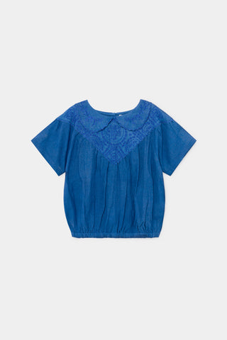 Bobo Choses Blue Embroidery Blouse