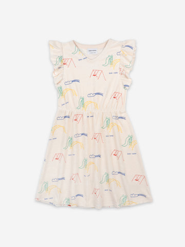Bobo Choses Playground All Over Terry Fleece Ruffle Dress