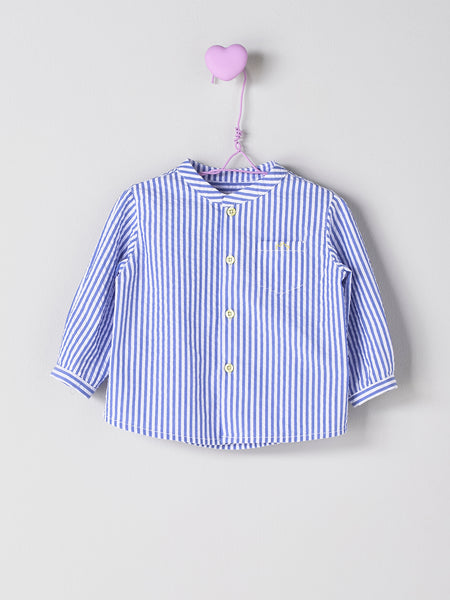 Nanos Blue & White Vertical Stripe Shirt