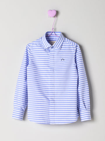 Nanos Blue & White Horizontal Stripe Shirt