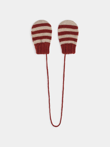 Bobo Choses Red Striped Mitten Gloves