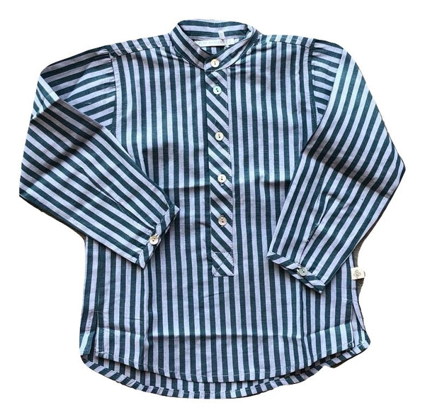 Pilar Batenero Bottle Green Stripe Shirt