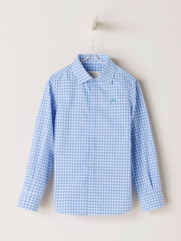 Nanos Blue Check Collared Shirt