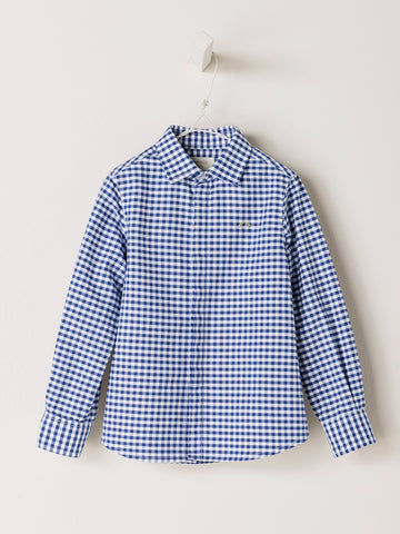 Nanos Dark Blue Check Oxford Collared Shirt