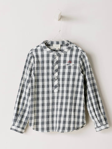 Nanos Grey Check Button Down Shirt