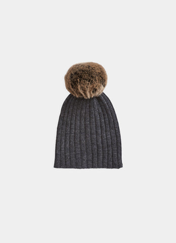 Belle Enfant Graphite Fur Pompom Hat