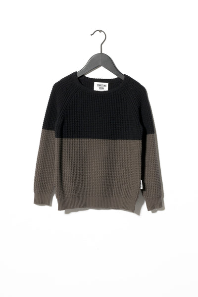 Sometime Soon Black Color Block Sweater