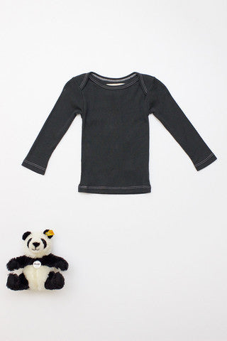Flora and Henri Rib Lap Shoulder L/S Tee Charcoal