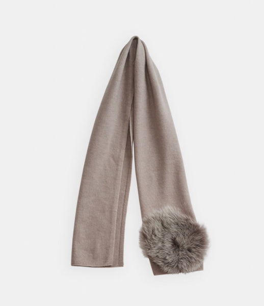 Belle Enfant Oyster Scarf with Shearling Fur Pom Pom