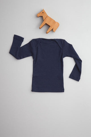 Flora and Henri Rib Lap Shoulder L/S Tee Navy