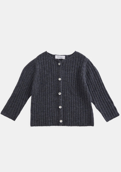 Belle Enfant Knit Graphite Marl Rib Cardigan & Legging Set