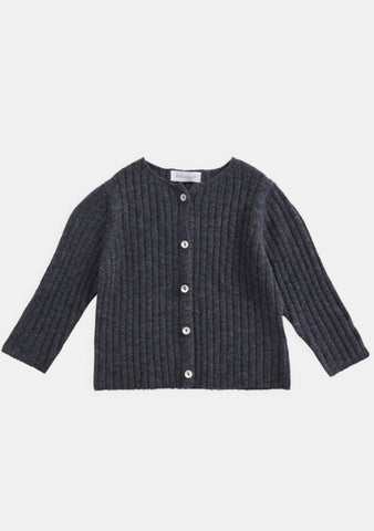 Belle Enfant Knit Graphite Marl Rib Cardigan