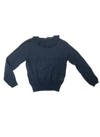 Cyrillus Navy Collar Pullover Sweater