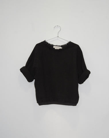 Andorine Black Oversize Ribbed Girls Woven Top