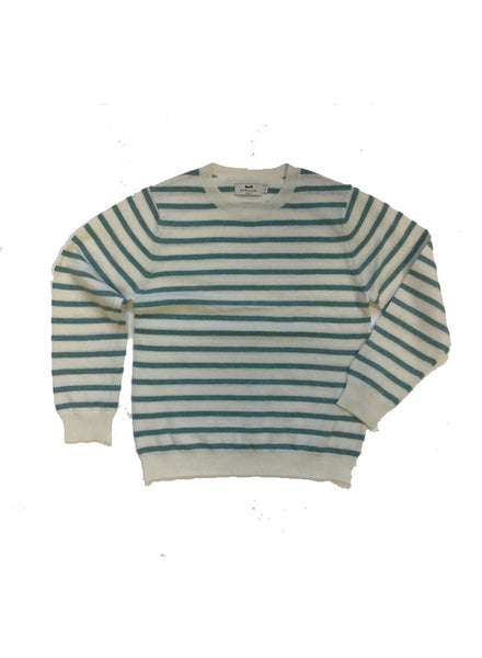 Cyrillus Beige Green Stripes Sweater