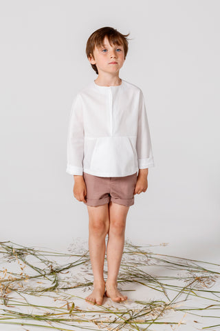 Annice White Linen Front Pocket Shirt