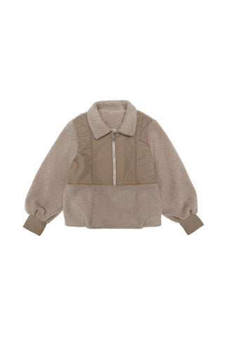 The New Society Camel Teddy Sweater Jacket