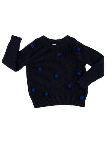 Tinycottons Navy Pom Poms Sweater Oversized