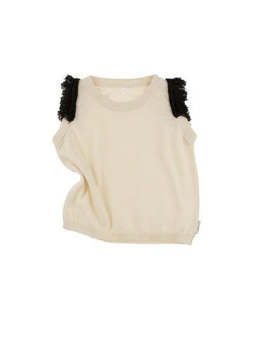 Tinycottons Beige Fringed Knit Vest