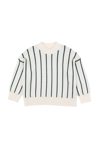 Tinycottons Beige Stripes Mock Sweater