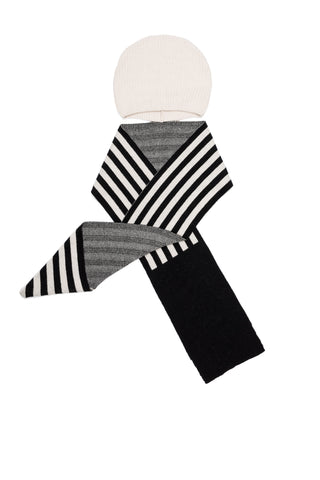Motoreta Off White & Black Stripes Knitted Hat Scarf