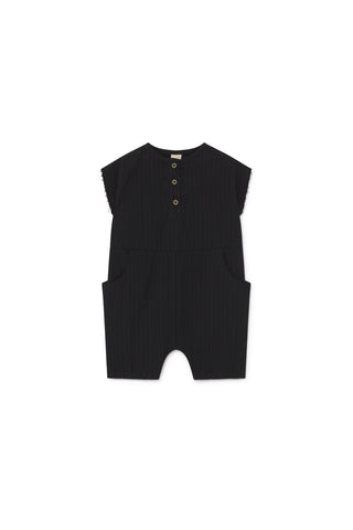 Little Creative Factory Baby Black Crushed Cotton Jumpsuit