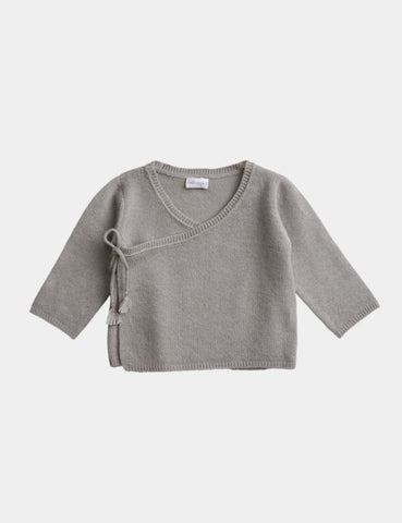 Belle Enfant Knit Cloud Grey Wrap Top