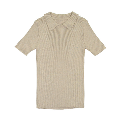 Belati Oatmeal Collared Ribbed Knit Top