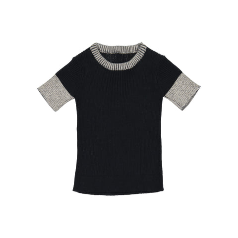 Belati Black & Oatmeal Ribbed Inverted Trim Top