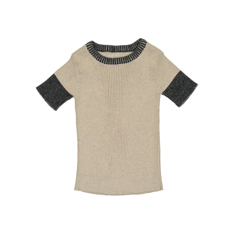 Belati Oatmeal & Black Ribbed Inverted Trim Top