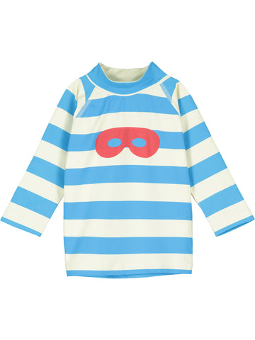 Beau Loves Blue Stripe Baby Hero Mask Rashguard