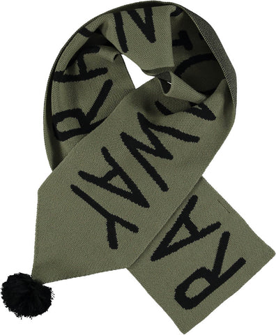 Beau Loves Moss Rain Go Away Knit Scarf with Pompom