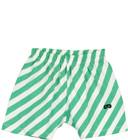Beau Loves Green Diagonal Stripes Baby Shorts