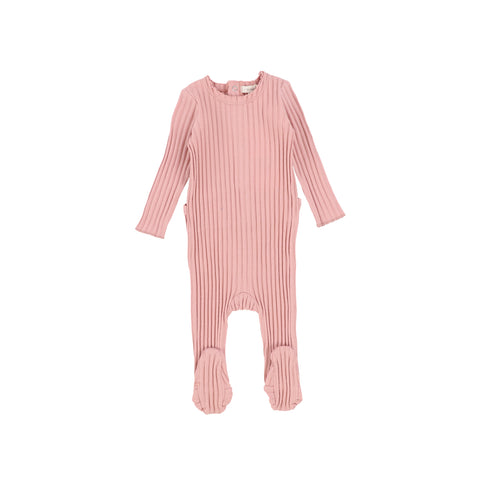 Lil Legs Pink Barely Blush Wide Rib Footie