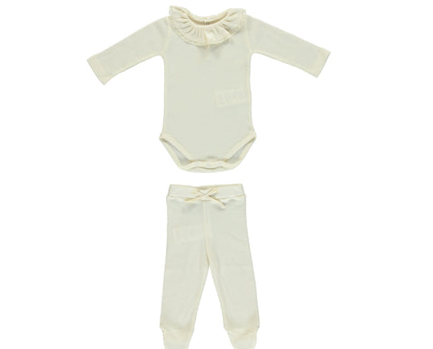 Bebe Organic Natural Bebe Body Ruffle Collar & Legging Set