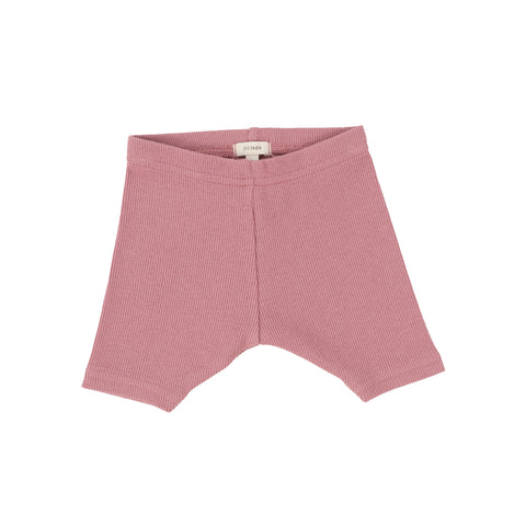 Lil Legs Blush Ribbed Biker Shorts