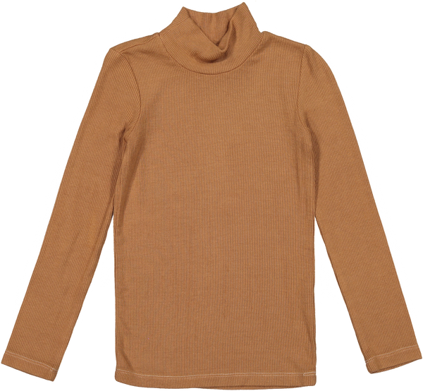 Coco Blanc Camel Ribbed Turtle Tee