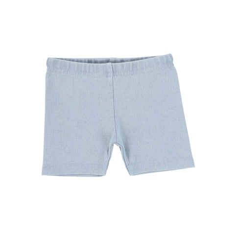 Lil Legs Chambray Denim Biker Shorts