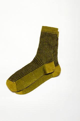 Leoca Gold and Black Striped Ribbed Socks