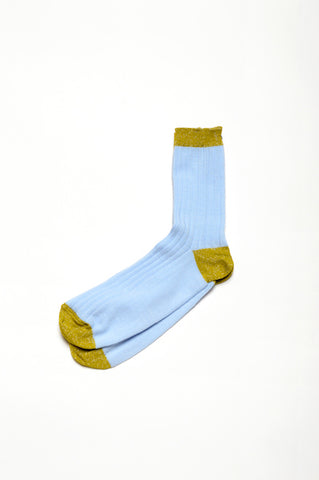 Leoca Light Blue Ribbed Socks