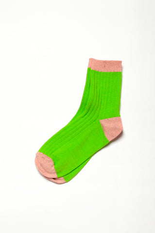 Leoca Light Green Ribbed Socks