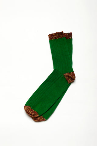 Leoca Dark Green Ribbed Socks