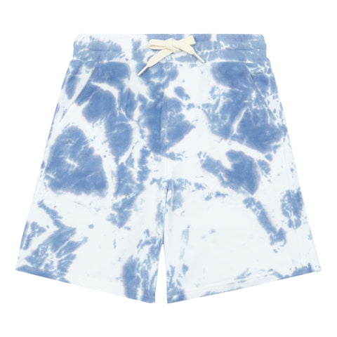 Hundred Pieces Long Blue Tie Dye Shorts