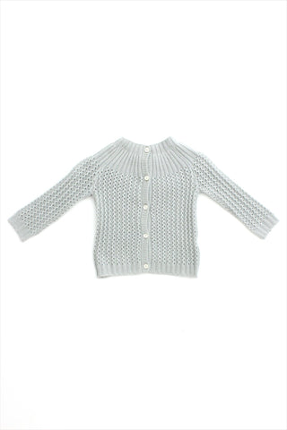 Flora and Henri Dove Grey Cashmere Yoke Cardigan