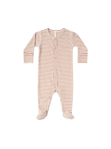 Quincy Mae Rust Stripe Footed Onesie