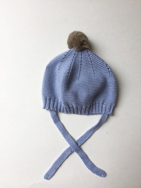 Pilar Batanero Light Blue Knit Pompom Hat