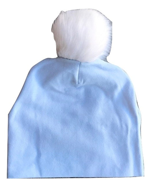 Bari Lynn Blue Cotton Baby Hat with White Fur Pom-pom