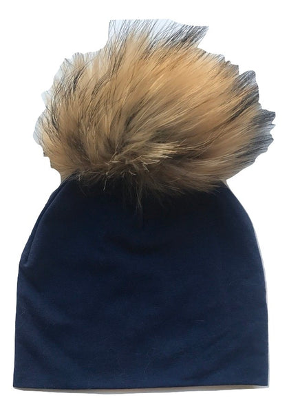 Bari Lynn Navy Blue Cotton Baby Hat with Large Brown Fur Pom-pom