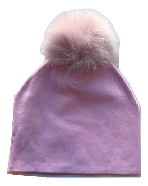 Bari Lynn Pink Cotton Baby Hat with Pink Fur Pom-pom